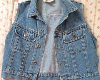 Vintage light wash denim vest