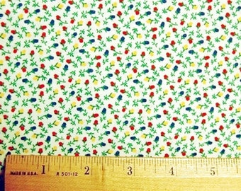 Calico Fabric Vintage White Blue Red Yellow VIP Ye Olde Calico