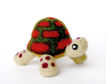 needle felted turtle