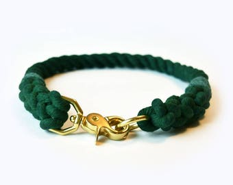 Custom Emerald Green Rope Dog Collar