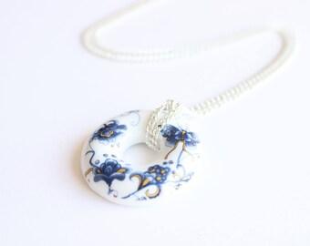 Flower Ceramic Necklace, Floral Porcelain Necklace, Chinese Asian Floral Necklace, Ceramic Porcelain Dainty Minimal Statement Necklace