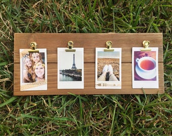Wooden polaroid display sign, photo display, polaroids, instax, custom prints, prints, picture frame, hanging frame, rustic frame, clips.