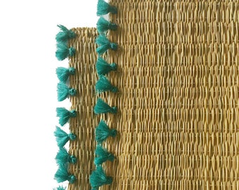 LOLA placemats with tassels - set of 2 TURQUOISE