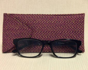 Welsh tweed glasses/spectacles case in pink, beige & brown