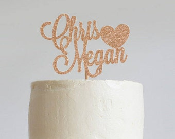 Personalized Heart Glitter Wedding Cake Topper, Custom Wedding Cake Topper, Mr and Mrs Cake Topper, Engagement Cake Topper