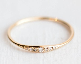 Diamond Tiny Line Band // Genuine White Diamonds Prong Set in Solid 14k Gold // Tiny Diamonds in Gold Tapered Band // April Birthstone Ring