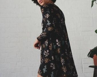 Organic cotton and bamboo jersey Swing dress - Pretty Flower print
