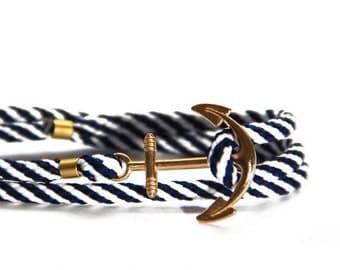 Anker Armband, blau-weiß-gestreift mit goldenem Anker