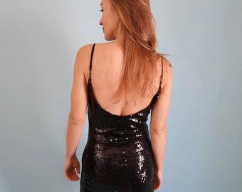 90s Black Sequins Backless Mini Dress