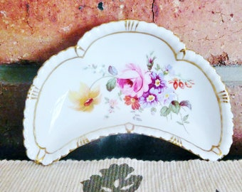 Crown Derby 'Derby Posies' porcelain crescent shaped butter, pate, sweets, trinket dish, 1970s, Xmas gift, Kris Kringle