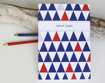 Notebook design large TRIANGLES blue, white and Red