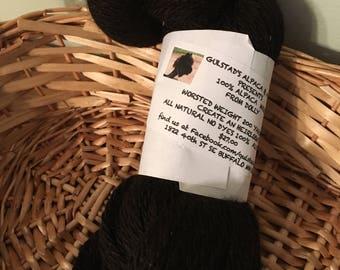 True Black Huacaya Alpaca Yarn worsted weight 200 yards all natural 100% Alpaca fiber yarn
