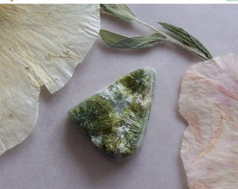 ON SALE Wavellite Cabochon ~ RARE ~ Natural ~ Organic Surface ~ Small Flat Back Cab ~ 16x22mm ~ Jewelry Making Supply