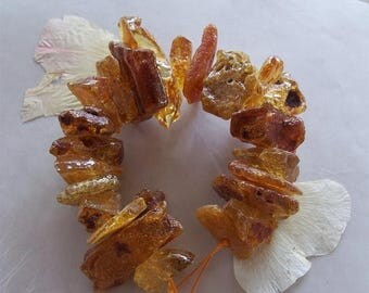 "ON SALE Columbian Amber Gemstone Very Large Rough Raw Nugget Beads ~ 7.5"" Strand ~ 14mm-48mm ~ 23 Pieces"