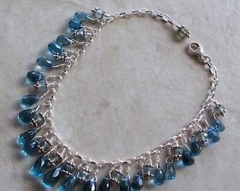 ON SALE London Blue Topaz & Aquamarine Sterling Silver Dangle Charm Bracelet Adjustable