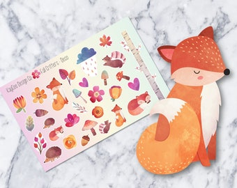 DECO / Fall Critters / Forest Creatures / Animals / For any planner like Erin Condren, MAMBI, Kikki K, Filofax / Scrapbook / Journal