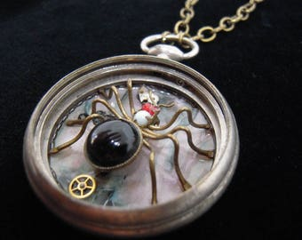 "Necklace Steampunk gusset ""spider Art Deco"" UNIQUE PIECE shows gusset old Necklace (spider The 20 s) ref 502 """""