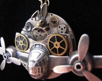 Steampunk necklace the rabbit AVIATOR, mechanism of watch (airplane) Rabbit, flat, airman, pilot, propeller, steampunk necklace, A510