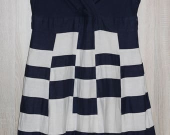 Vintage Linen Dress Navy and White Stripes and Checkered Sleeveless Dress  Size XL