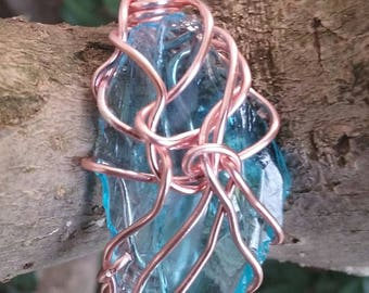 Wire Jewelry, Pendant, Handmade- Glass and Rose Gold Wire Design.
