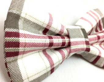 Gray Plaid Bow Tie for Dogs | Plaid Bow Tie | Dog Bow Tie | Bow Tie for Dogs