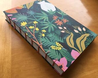 Terracotta Garden Scene Sketchbook // Ferns, Flowers, and Greens // Handmade Journal // Coptic Stitch // Hardcover // Summer Fun // Pretty