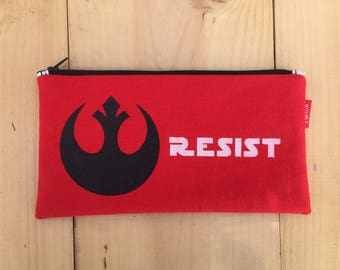 Star Wars 'Resist' Red Cotton Pencil Case/Zipper Pouch