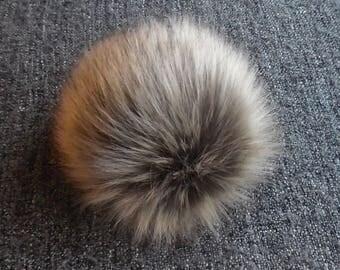 Size L, ( grey - beige ) faux fur pom pom 5.5 inches/15 cm
