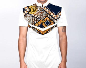 African print men slim fit shirt