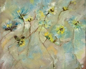 Abstract yellow flowers original oil painting 8x8 ready to hang artwork flowers wall art kitchen decor