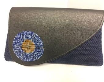 Blue Beaded Medallion Clutch bag