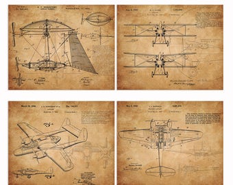 Vintage airplane patent art prints 4 in 1 airplane with propeller sketchup parchment paper Nursery plane Wall Art classic plane art unframe