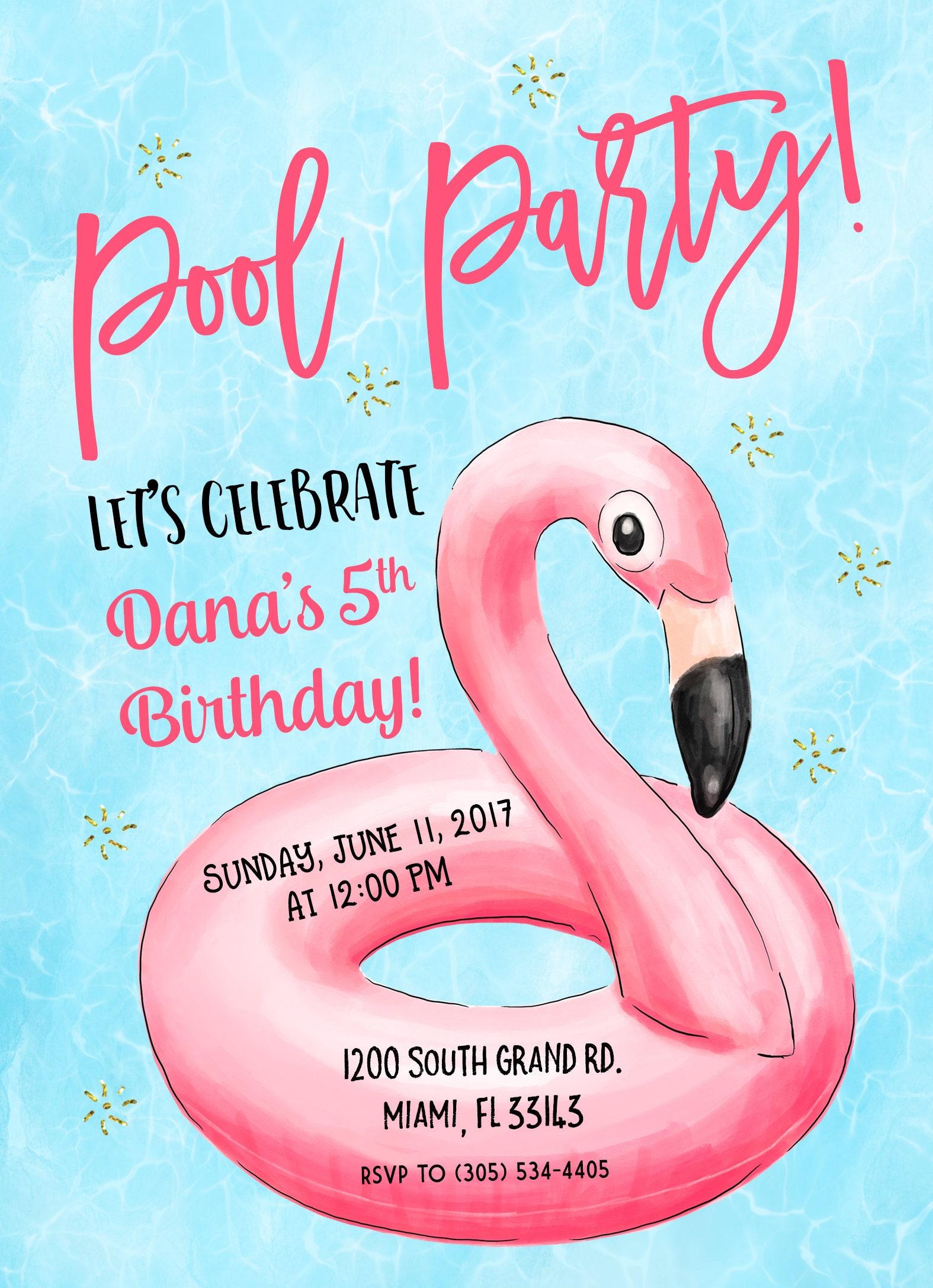 Flamingo Pool Party Invitation Flamingo Birthday Invitation – Flamingo Birthday Invitations