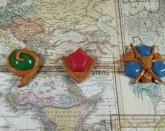 Legend of Zelda- Ocarina of time Spiritual Stones- Kokiri's Emerald, Goron's Ruby, Zora's Sapphire. Legend of Zelda jewelry