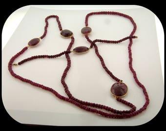 Authentic Turkmenistan Rough Ruby 925 Sterling Silver SET Necklace & Bracelet