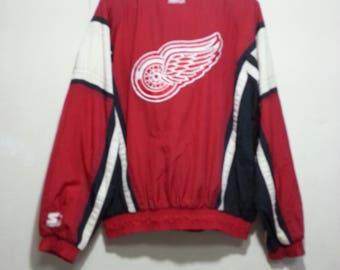 Vintage Starter NHL Red Detroit Red Wings windbreaker Jacket Size L youth (same as medium adult)