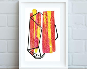 Original artwork\\ Red Yellow Geometric Gem\\ acrylic & ink on mixed media paper\\ 8x10 inch mat with 4x6 inch cutout