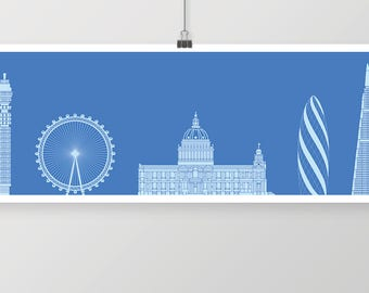 London Skyline Panoroma - unique wall art
