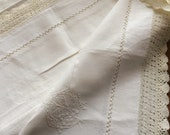 Edwardian linen handworked lace sheet with embroidery. 80ins x 100 ins length. Heavy. Strong