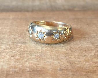 Antique 18k Gold Three Stone Diamond Star Ring