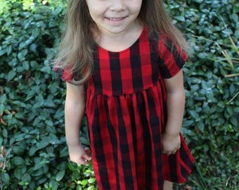 Buffalo Plaid Dress- winter dress, fall dress, girl dress, toddler dress, baby dress, buffalo plaid, dress, Christmas dress