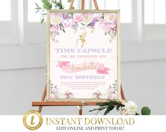 Fairy Time Capsule, Time Capsule Sign, Baby Time Capsule, 1st Birthday Capsule, Time Capsule Note, 1st Birthday Decor, Enchanted Fairy