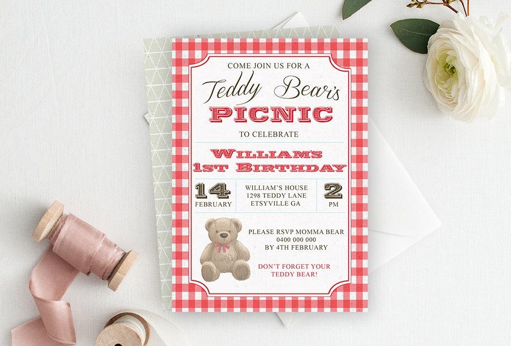Teddy Bear Invitation Teddy Bear Picnic Invitation Bear