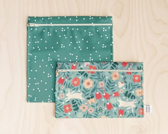 Reusable sandwich bag // Reusable snack bag // waterproof sandwich bag snack bag // zipped reusable bag