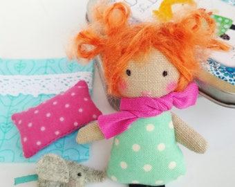 Super Mini Ragdoll (2.7 in) in the Box - Turquoise Polka Dot / Annamari, Owner of Mummutown / Soft Toy / Stuffed Doll / Matchbox Doll