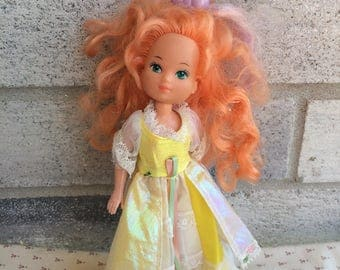 Lady Lovely Locks doll, Maiden Curly crown doll with squirrel pixietail, Lady Lovely Locks Doll with Yellow Outfit