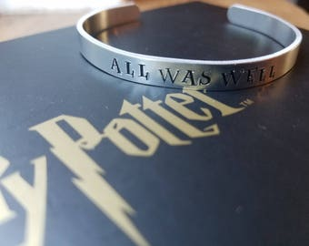 """Hand Stamped """"All was well"""" Harry Potter Inspired Bracelet"""