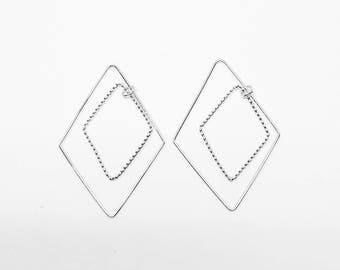 P0689-1/Anti-Tarnished Rhodium Plating over Brass/Dangle Rhombus Pendant Connector/22.5x34mm/4pcs