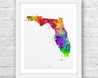 Florida Map, Florida Print, Florida Art, Florida State, Florida Watercolor, Minimalist Art, Florida Printable,Instant Download