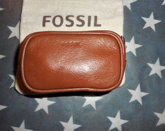 VINTAGE FOSSIL Brown Leather 3.5 X 2.5 X 1.5 Coin Purse Mini Pouch W/Dust Bag